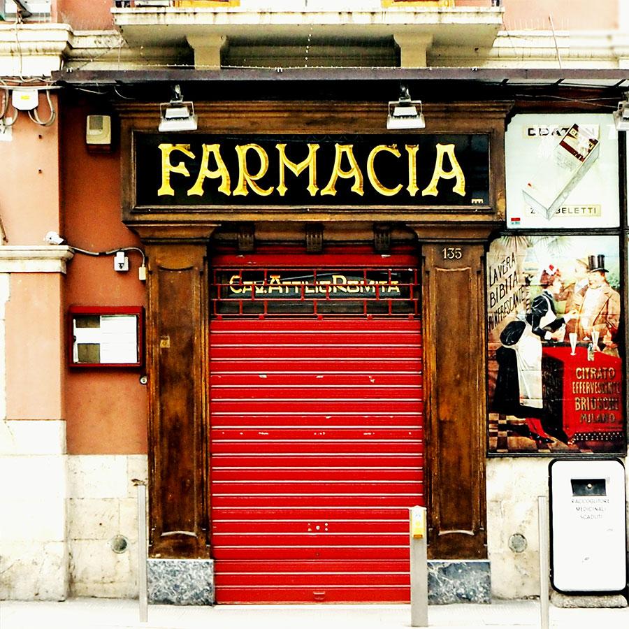 Letters from Puglia_Bari, Farmacia Romita_ Futuro Arcaico